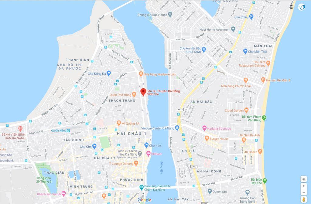 Bản đồ đến bến Du thuyền Đà Nẵng